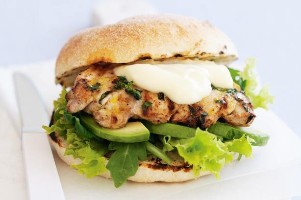 Lemon and thyme chicken burgers