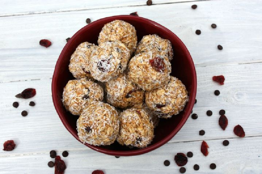 Lime, cranberry and coconut balls