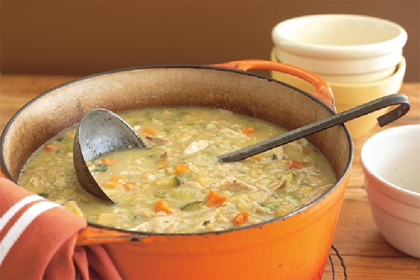 Winter vegetable and chicken soup