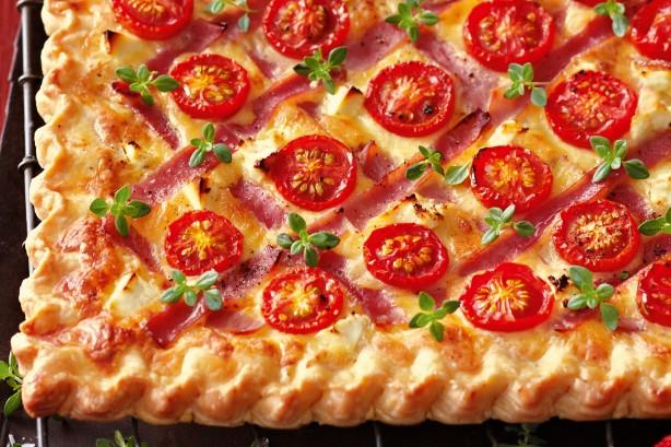 Cheese ham tomato tart